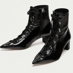 ZARA Patent Leather Lace Up Pointy Boots